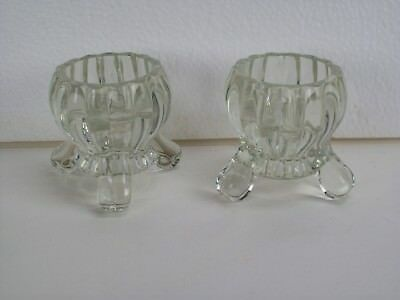 """Set of 2"" ~ Clear Glass Candlestick Holders ~ Three Leg Design ~ About 3"" Tall"