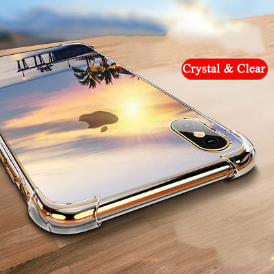 Hybrid Shockproof Clear TPU Hard Bumper Case For iPhone X XR Xs Max 6 7 8 Plus