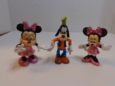 WALT DISNEY FIGURE 3 INCH Tall (LOT OF 3) 2-MINNIE MOUSE AND 1-GOOFY NICE !!!
