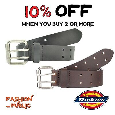 Dickies Men's Belt 2 Hole Double Prong Bridle Black Genuine Leather Work Belt