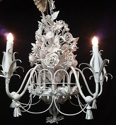 """Fab Vintage White Floral Wrought Iron Chandelier W/roses & Tassels 5 Lights-24"""""""