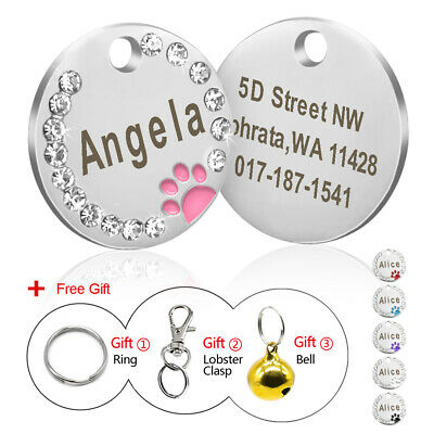 Bling Rhinestone Personalized Dog ID Tags Paw Engraved Name Custom for Puppy Cat