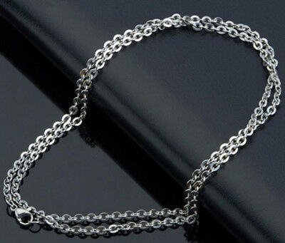 2-100PC Men's Boy Stainless Steel Silver Figaro Link Rolo Chain Necklace Jewelry