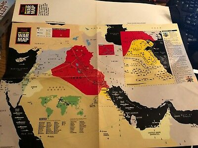 "vintage 1991 Iraq War ""Time The Gulf War Map"" approx 21"" x 14 1/2"" double sided"