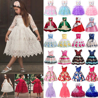 Kids Flower Girl Bridesmaid Pageant Princess Lace Birthday Party Prom Tutu Dress