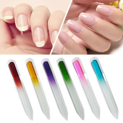 2PCS Crystal Glass Nail File Buffer Durable Nail Art Tool Manicure Device 3.5''