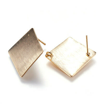 20pcs Drawbench Brass Rhombus Earring Posts Gold Plated Stud Findings Loop 18mm