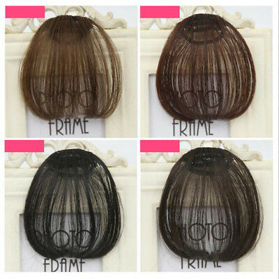 1Pcs Women Neat Air Bangs Clip In Front Fringe Synthetic Hair Extensions Toupee