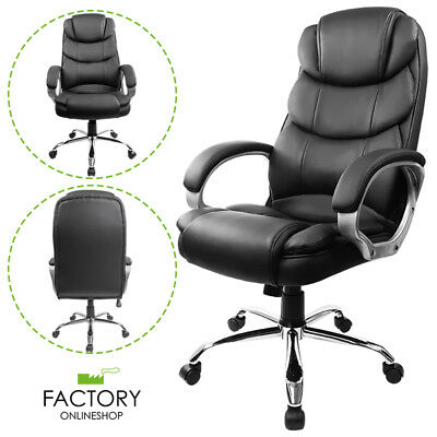 High-Back Swivel Desk Computer Ergonomic Executive Office Chair Black PU Leather