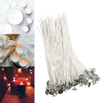 """100pc Candle Wicks Cotton Core Pre Waxed With Sustainers For Candle Making 8"""""""
