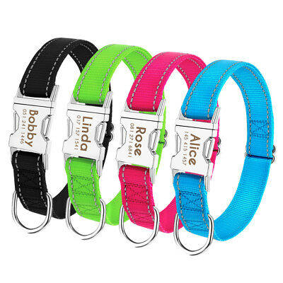 Reflective Personalised Dog Collar Heavy Duty Buckle ID Name Collar For Pitbull