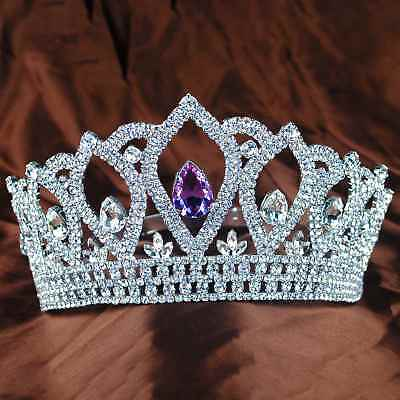 Lady Tiara Headpiece Purple Rhinestones Crowns Wedding Bridal Princess Pageant