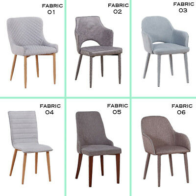Set of 2 Dining Chairs Retro Fabric Chairs Padded Seat Kitchen Office Lounge