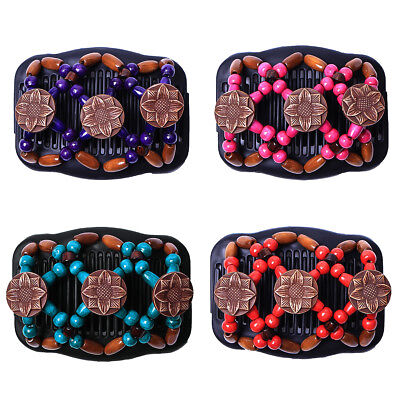 Fashion Easy Magic Wood Beads Double Hair Comb Clip Elastic Women Hair Fittings