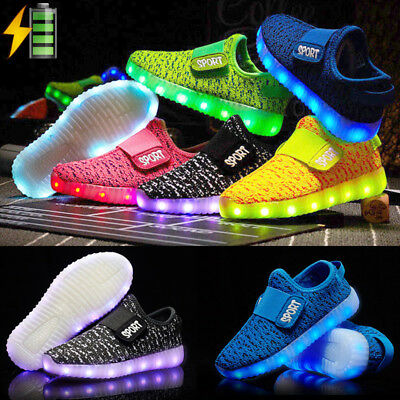 Childrens Kids Boys Girls LED Flash Light Up USB Charge Shoes Trainers Sneakers