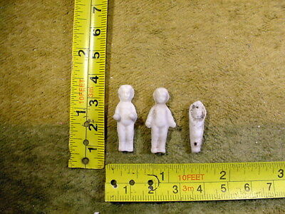 """3 x excavated vintage victorian frozen charlotte doll age 1860 0.9-1.1 """" A 12041"""