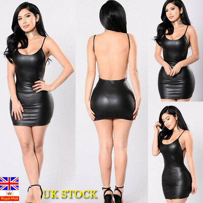 Women PU Leather Backless Bodycon Dress Ladies Evening Party Cocktail Prom Dress