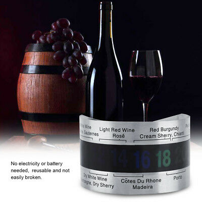 Stainless Steel Wine Bottle Thermometer LCD Display Serving Bracelet Checker Hot