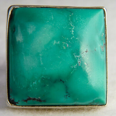 Contemp SilverSari Gem Ring US 8 1/2 Solid 925 Sterling Silver NATURAL TURQUOISE