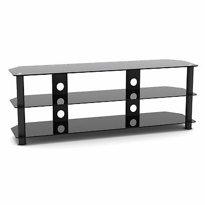G-VO Black Glass TV Stand 140cm Wide For LED, LCD, Flat panel TV's up to 60 inch