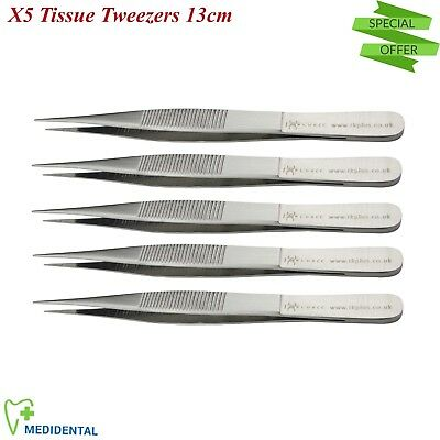 Tissue Thumb Forceps Set of 5 Dressing Pliers Dental Tweezer Surgical Instrument