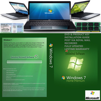 Windows 7 Home premium 64bit SP1 FORMAT HDD DVD + Licence USE ON ANY COMPUTER