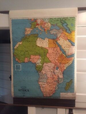 VINTAGE SCHOOL WALL MAP OF AFRICA Rare By G. W. Bacon's Europe 1950's