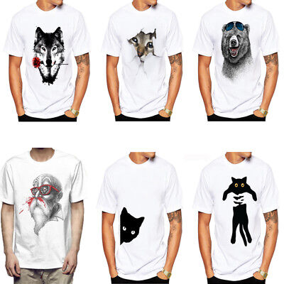 Womens Mens Casual design White T-Shirt 3D Print Wolf Rose Graphic Tee Shirts