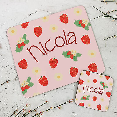 Personalised Kids New Brown Owl Wooden Glossy Placemat and Coaster Set