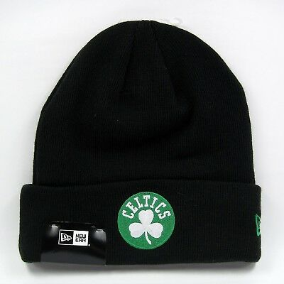 24abb1509e7 New Era Men s NBA Boston Celtics Team Essential Black Winter Knit Beanie Hat