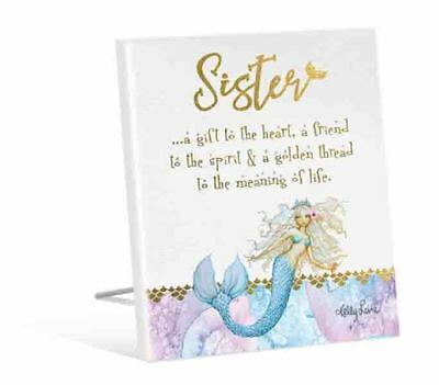 French Country Vintage Inspired Wooden MERMAID SISTER a Gift to the Heart Sig...
