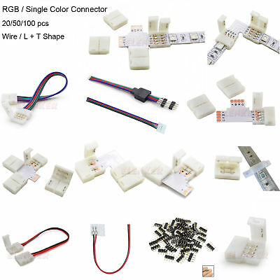 2Pin 4Pin LED Strip RGB Extension Cable Wire Adapter Clip Connector 8mm 10mm