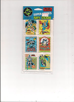 Dc Super-Heroes Puffy Stickers 1982 Superman,batman And Robin,penguin New