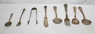 Vintage Lot of Silver Plate Utensils Flatware Forks Spoons Tongs Knife Antique
