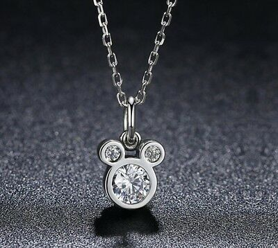 925 Sterling Silver Disney Mickey Mouse 1.0 Cts Cubic Zirconia Pendant Necklace