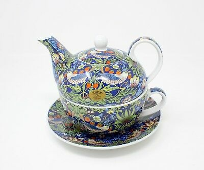 Tea For One Set Tea Pot,Cup & Saucer Gift Box Blue Strawberry Thief Gift Boxed
