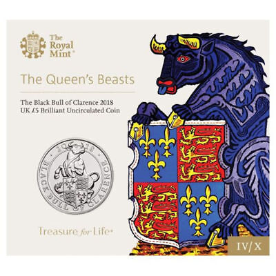 2018 United Kingdom £5 BU Coin Queen's Beasts: The Black Bull of Clarence