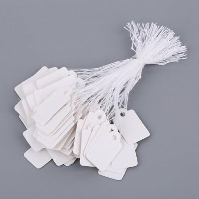 Rectangular Blank White 925 Silver Price Tag 100 Pcs With String Jewelry Label I