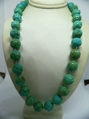 Vintage Chinese Turquoise Carved Shou Stone Bead Necklace NATURAL  71 Grams 18""