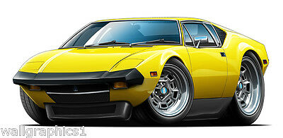 Vintage 1973 De Tomaso Pantera Ford Engine 351 Decal Wall Graphic Man Cave Decor