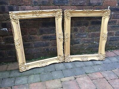 Antique Victorian Pair Gilded Gilt Gold Wooden Picture Frames Matching Gesso