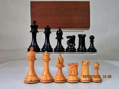 ANTIQUE CHESS SET  ENGLISH WEIGHTED   B.C.C? TOURNAMENT SIZE  K 90 mm AND  BOX