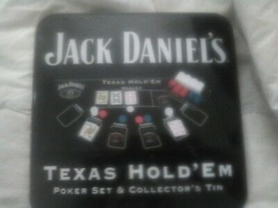 jack daniels texas hold'em poker set and collecterss tin