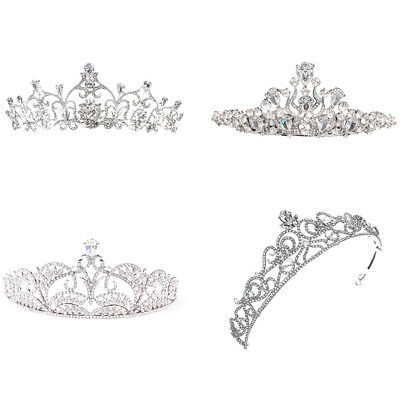 Wedding Headdress Bridal Bling Rhinestone Tiara Hollow Crown Hair Hoop Soft