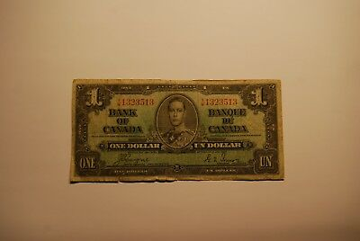 Bank Of Canada One 1937 Dollar Bill