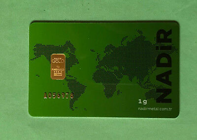 1gram pure gold with certification posted 1 class signed for NADiR refineries