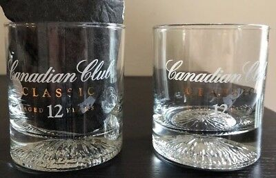 Set Of 2 Canadian Club Classic 12 Year Whisky Round Glasses