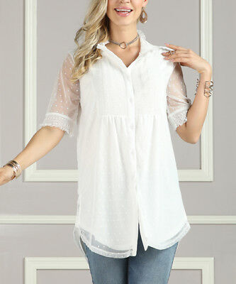 Suzanne Betro White SS Victorian Style Lace Tunic Women's Size XL NWT $57