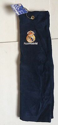 Real Madrid Golf Towel - Navy With Clip - New With Tags