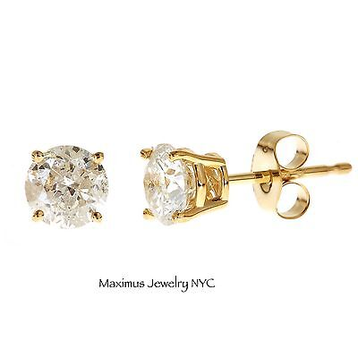 Diamond Round Brilliant Tiny Stud Earrings 100% Natural 0.12ct 14K Yellow Gold